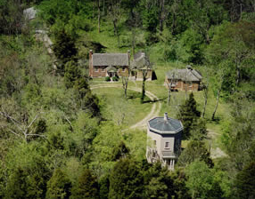 Aerial photo of the Warwick Compound showing the Warwick Tower, the Tea Room, and the Moses Jones House.
