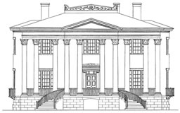 Drawing by Clay Lancaster, Colonial Revival House from Architectural Edification.